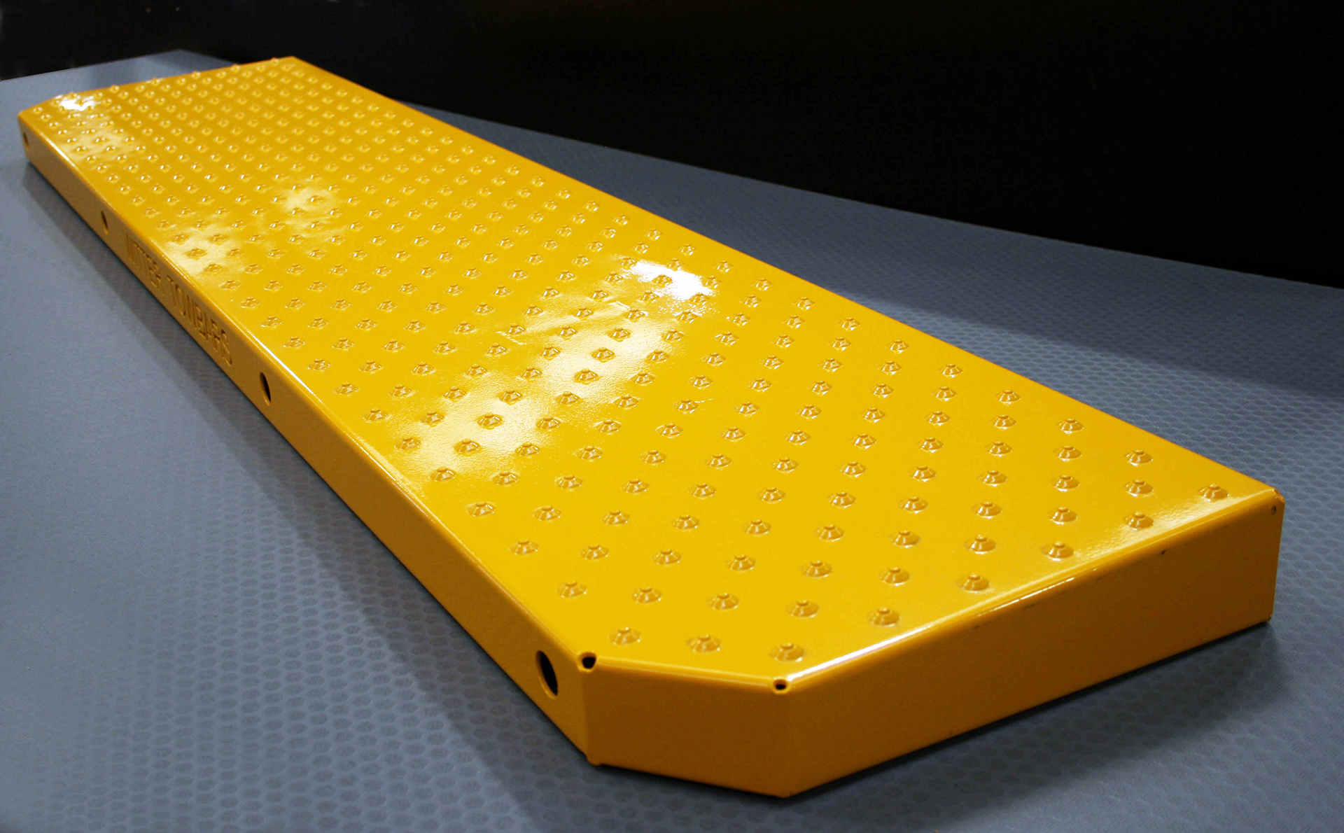 High spec yellow powder coated tread plate step