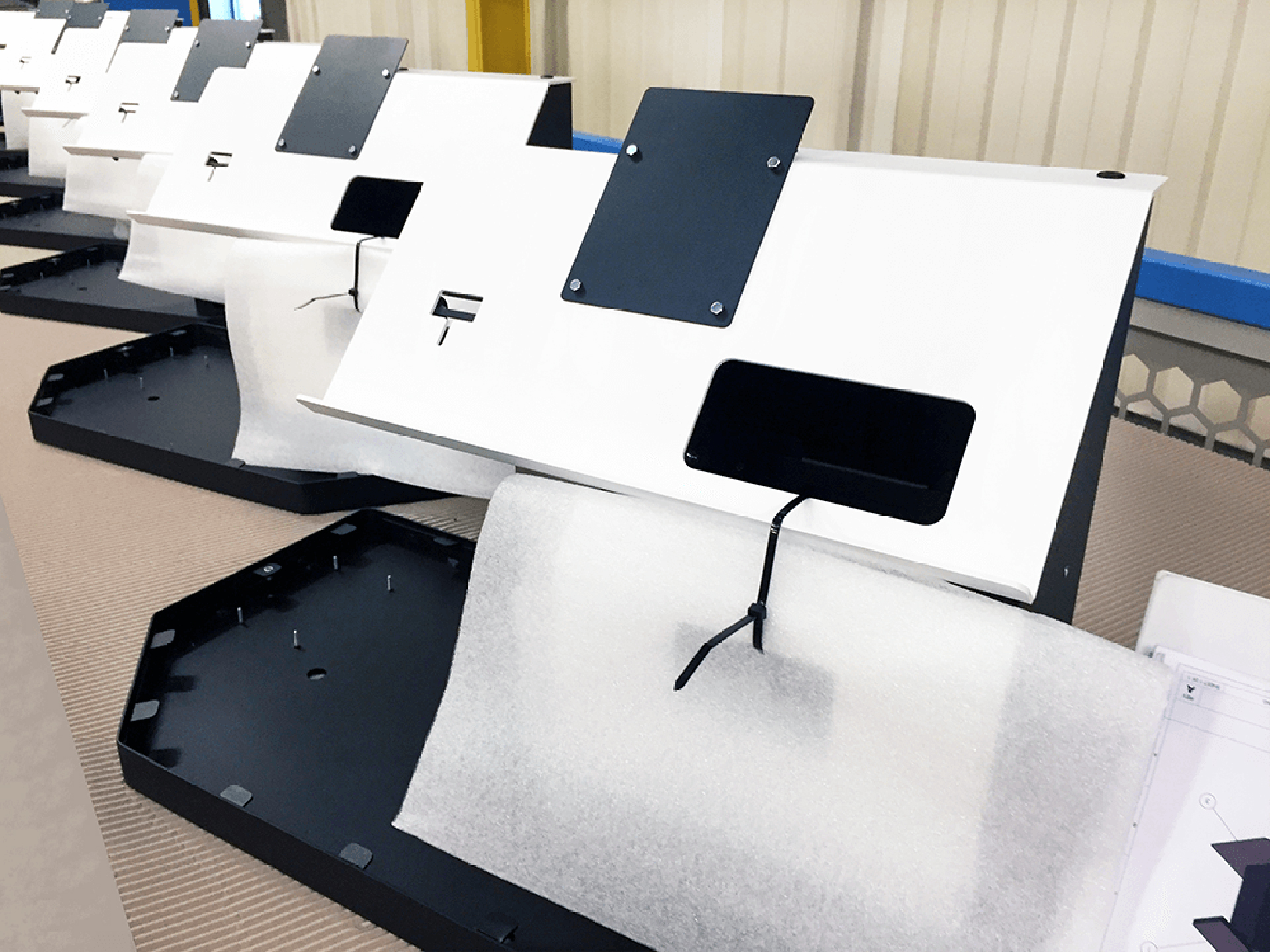 White powder coated interactive kiosks